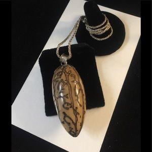 Unique Vintage Sterling Carved Nut Necklace